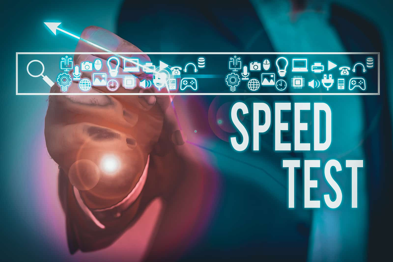 Text sign showing Speed Test